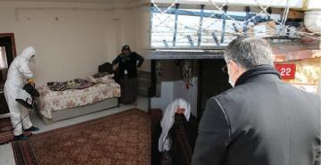 SULTANBEYLİ'DE YAŞLILARIN EVLERİ DEZENFEKTE EDİLDİ